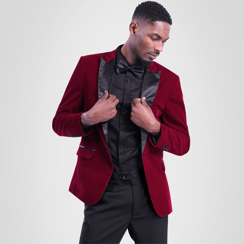 2-Piece Slim Fit Maroon Pleuche Suit