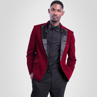 Slim Fit One Button Casual Red Blazer