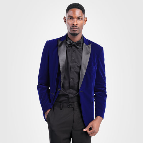 Slim Fit 2-Piece Blue Pleuche Tuxedo Suit