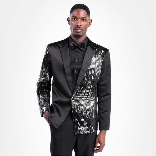 Prom Stylish Sequin Suit 2-Piece Black Suit