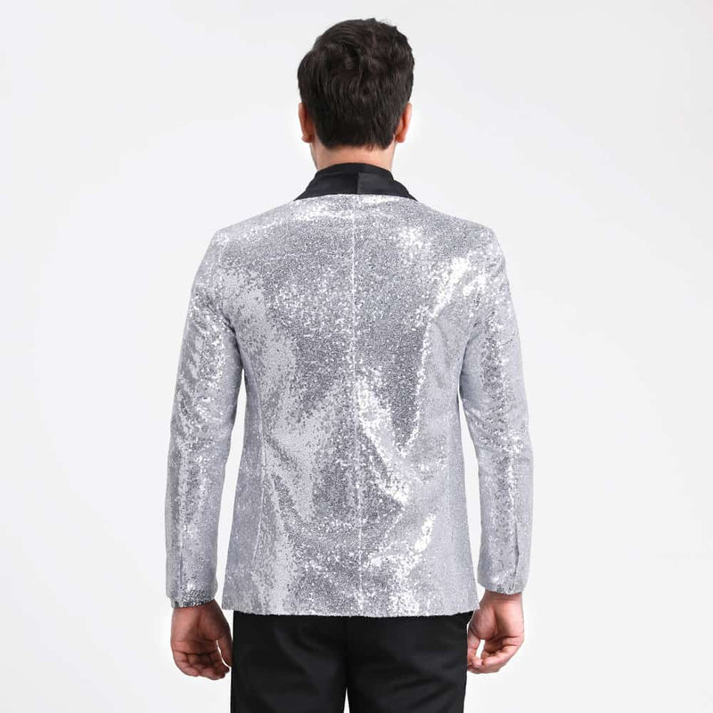Shiny Sequin Jacket Silver Party Dinner Blazer