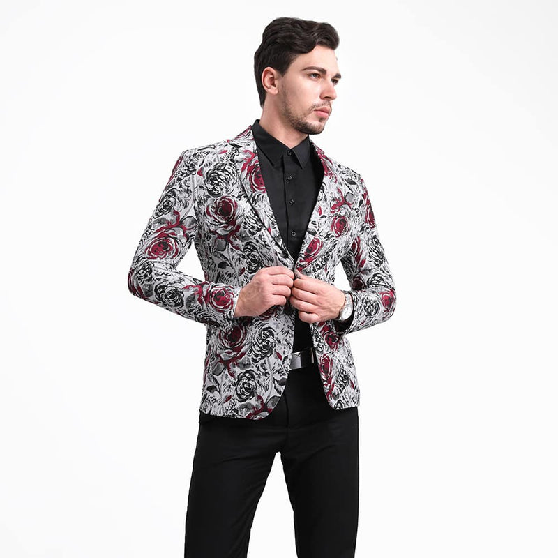 Jacquard Floral Blazer Slim Fit Two Buttons Blazer