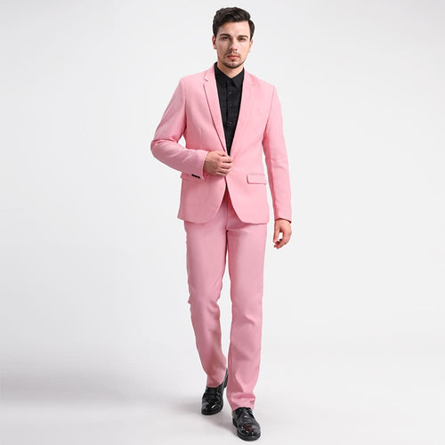 2-Piece Slim Fit Casual Pink Suit