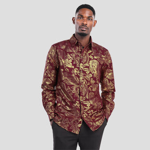 Slim Fit Folk Style Shirt Brown