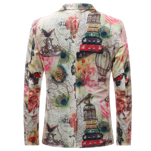 Slim Fit Butterfly & Flower Print Blazer