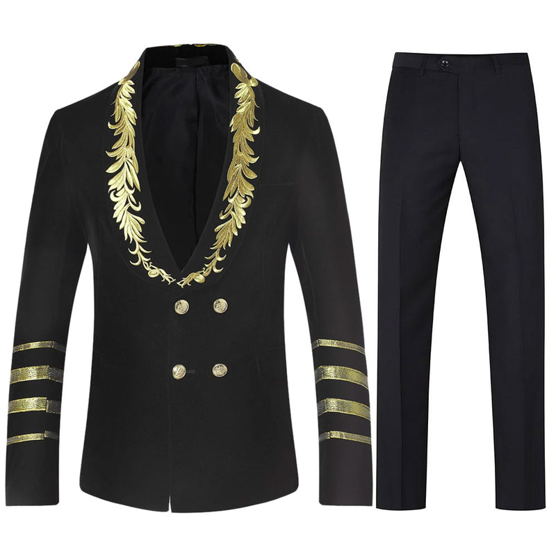 Black Velveteen Suit 2-Piece Embroidered Suit