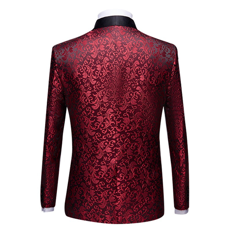 2-Piece Print Suit Slim Fit Paisley Maroon Suit