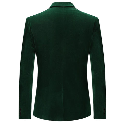 Green Slim Fit Fashion Velvet Blazer