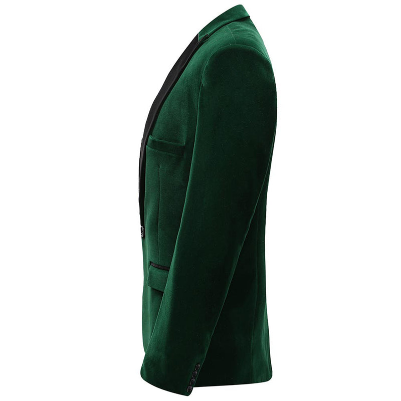 Green Velvet Fashion Blazer Pleuche Tuxedo Jacket