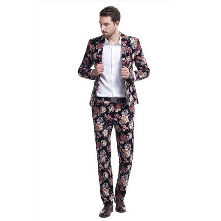 2-Piece Slim Fit Jacquard Style Suit 2 Colors