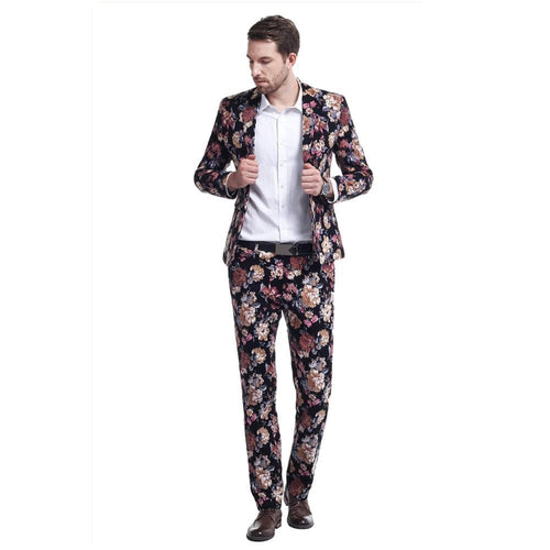 2-Piece Slim Fit Floral Suit 2 Colors - Cloudstyle