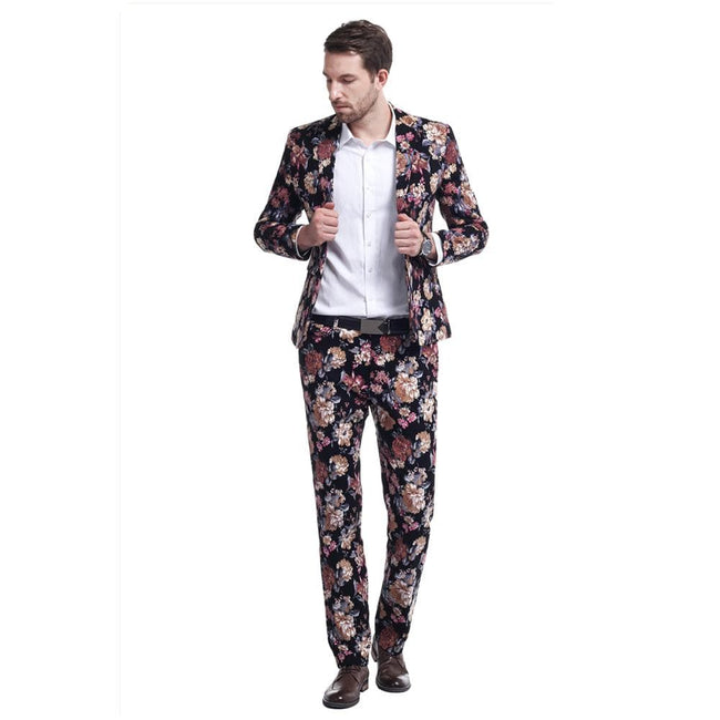 2-Piece Slim Fit Floral Suit 2 Colors