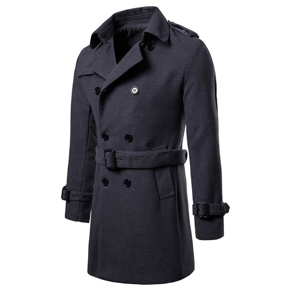 Men's Trench Coat Wool Blend Winter Long Double Breasted Overcoat