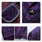 Slim Fit Casual Floral Printed One Button Purple Blazer