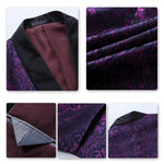 Jacquard Floral Purple Blazer One Button Casual Jacket