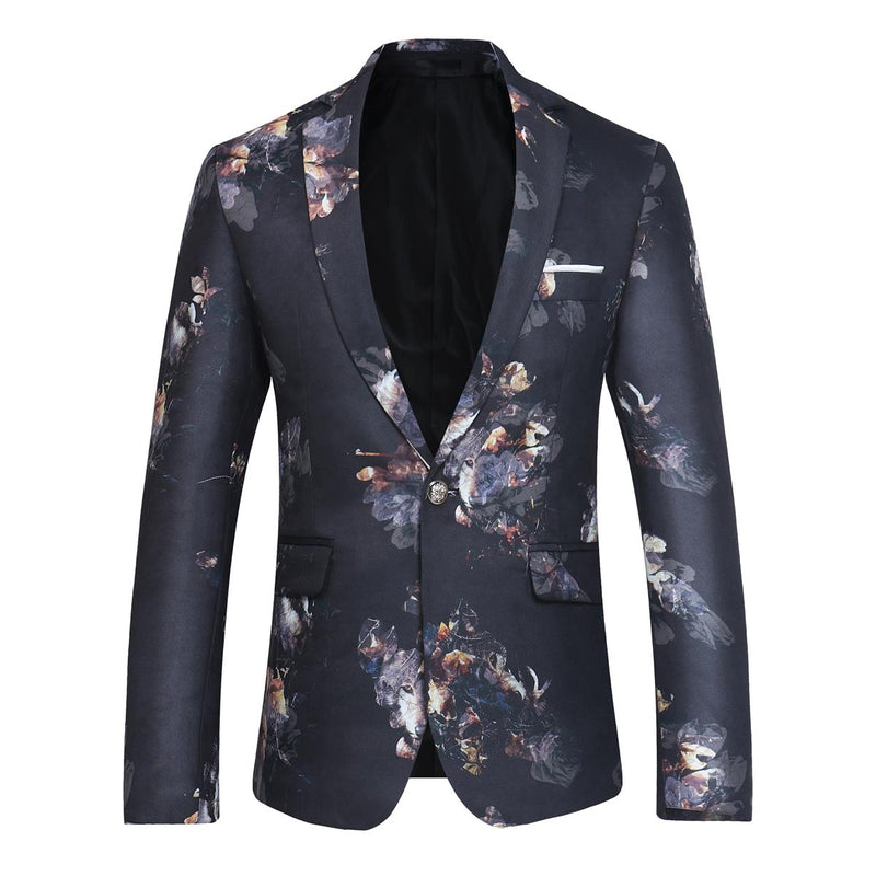 Slim Fit Floral Print Casual Black Blazer