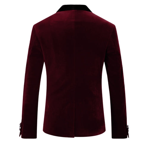 Maroon Velvet Jacket Shawl Collar Design Blazer