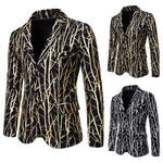Slim Fit Tree Branch Gilding Gold Blazer