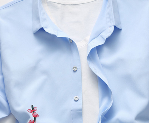 Slim Fit Flower Shirt SkyBlue