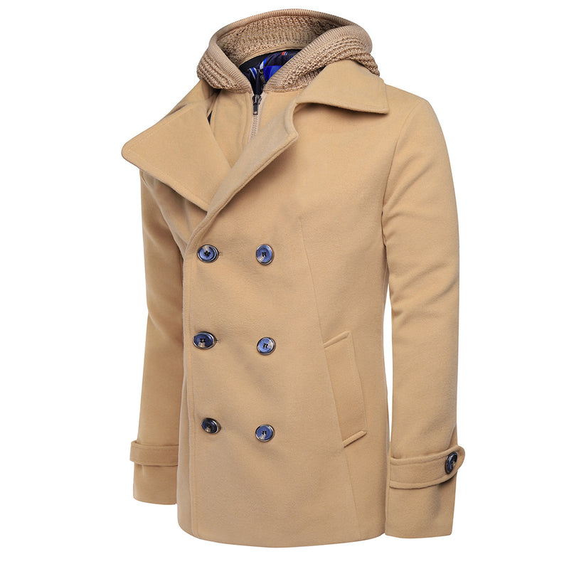 Cloudstyle-On Sale-Wool Blend Coat Double Breasted 2 Colors-Khaki