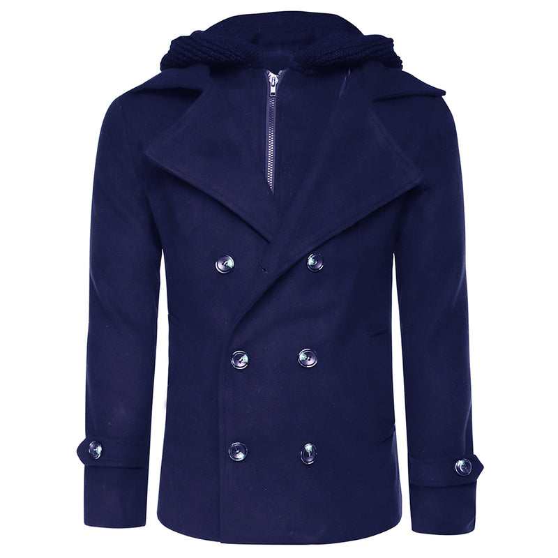 Cloudstyle-On Sale-Wool Blend Coat Double Breasted 2 Colors-Navy
