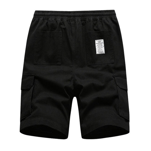 Relaxed Fit Solid Color Cargo Shorts Black