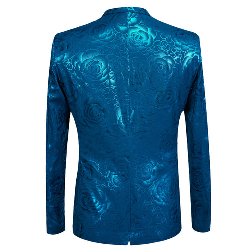 2-Piece Slim Fit Rose Hot Stamping Blue Suit