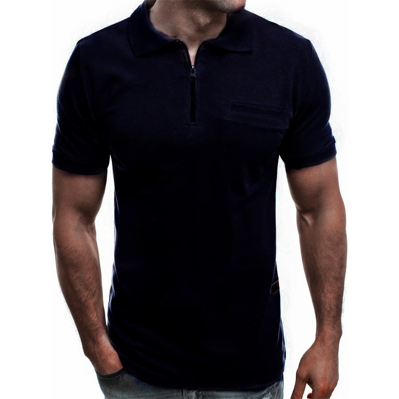 Grey & Navy & Maroon Polo Shirt Zip Closure Polo