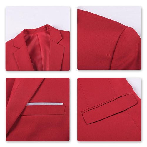 3-Piece Slim Fit One Button Fashion Red Suit