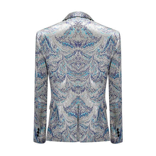 Peacock Print Blazer Slim Fit One Button Blazer