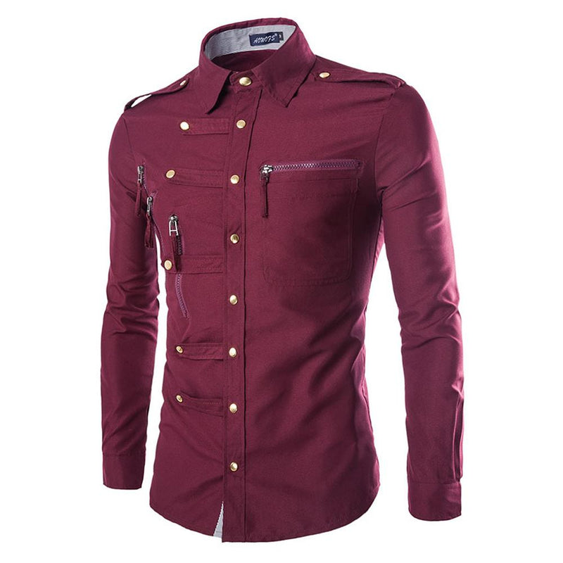 Slim Fit Zipped Pocket Shirts Maroon