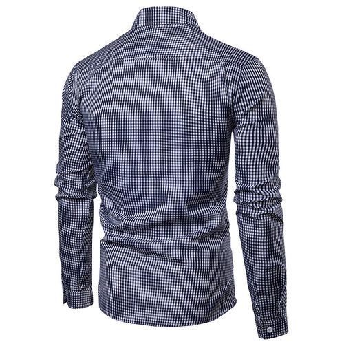 Slim Fit Pin Check Pullover Shirt Navy