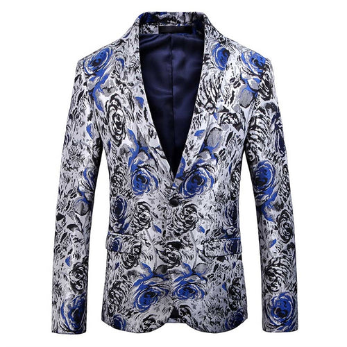 Slim Fit Casual Floral Printed Blazer Blue
