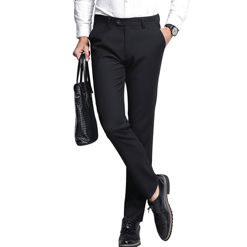 Modern Fit Solid Color Suit Pants Black