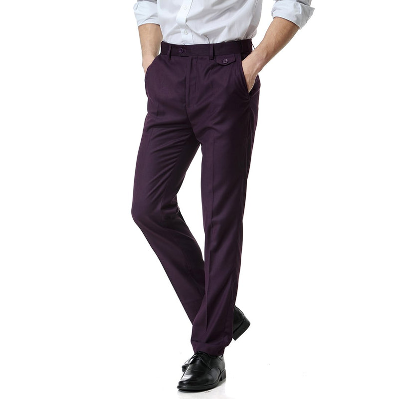 Purple Relaxed Flat Front Straight-Fit Suit Dress Pant
