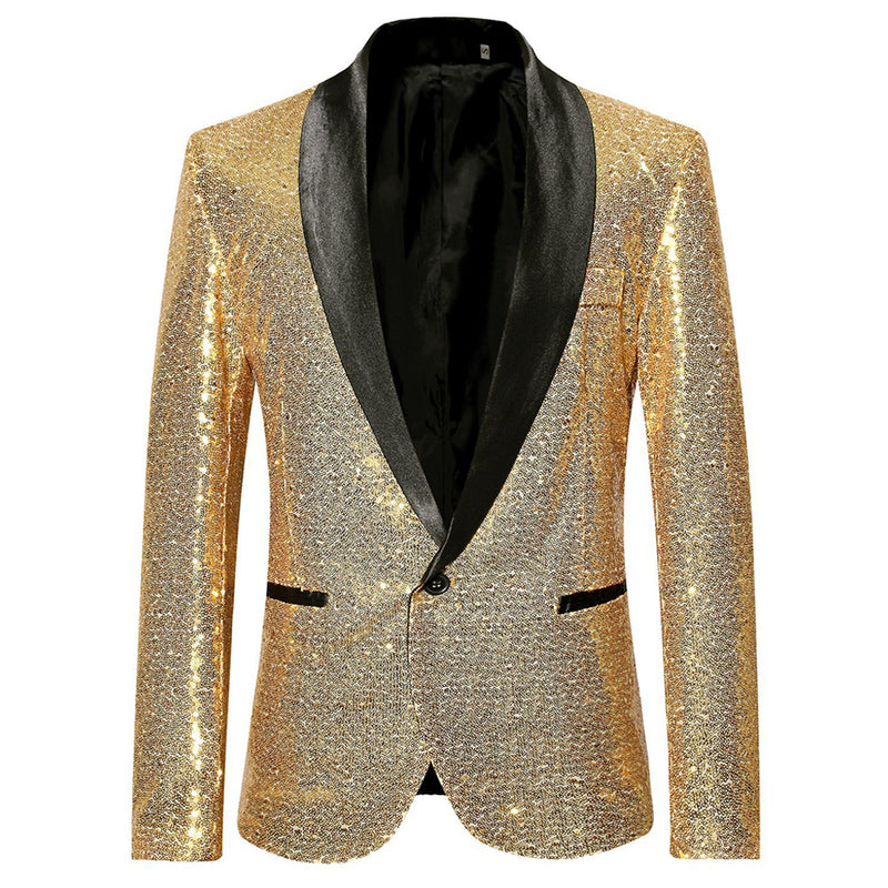 Shiny Sequin Jacket Gold Party Dinner Blazer