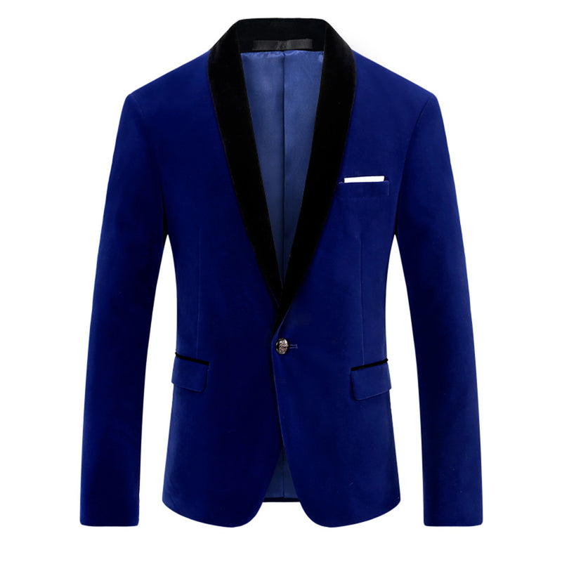 Blue Velvet Jacket Shawl Collar Design Blazer