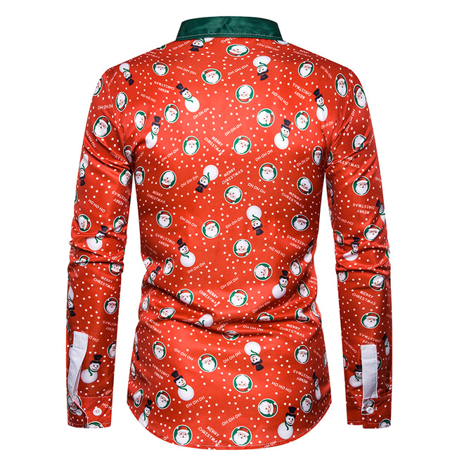 Holiday Shirt Slim Fit Christmas Print Shirt