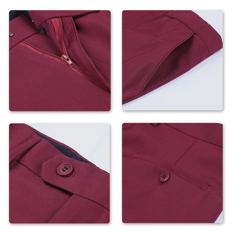 Two Piece Maroon Suit One Button Suit