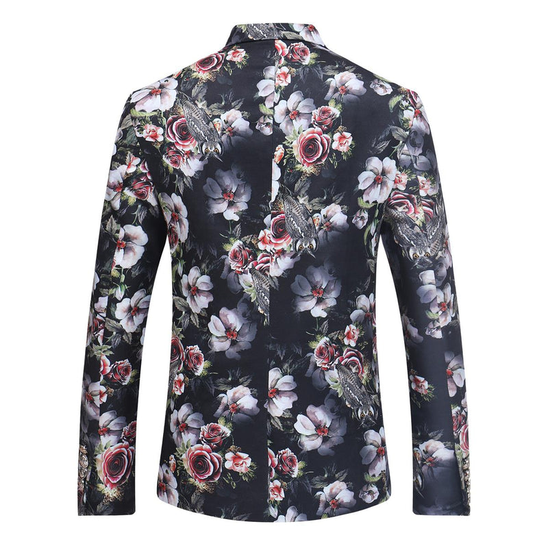Slim Fit Floral Casual Grey Blazer