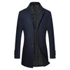 Men's Darkblue Long Winter Business Coat / Jacket, Slim Fit, Warm