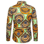 Orange & Green Slim Fit Print Shirt