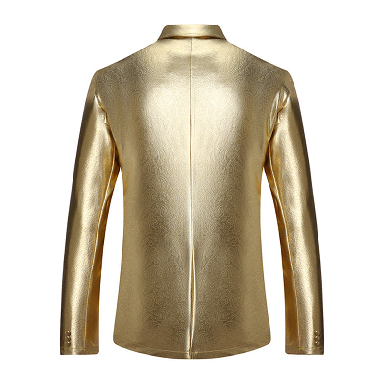 Gold Jacket Two Buttons Shiny Blazer