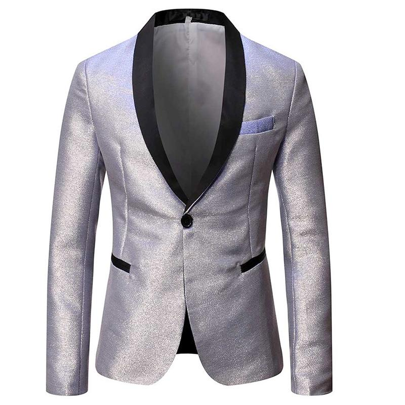Magic Silver Tuxedo Jacket Luxury Prom Blazer
