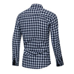 Slim Fit Plaid Twill Shirt Navy