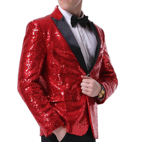NightClub Sequin Jacket Red Party Blazer