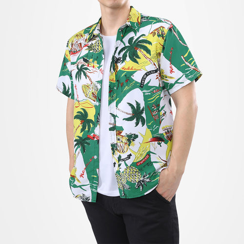 Coconut Tree Print Shirt Summer Beach Shirt