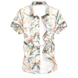Slim Fit Fashion Floral Shirt White - Cloudstyle