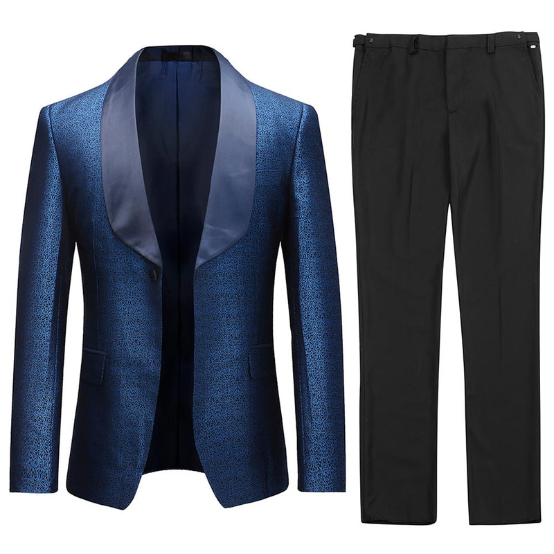 Printed 2-Piece Suit Shawl Collar Navy Suit