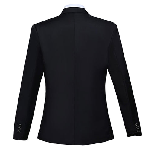 Slim Fit Peaked Lapel Dress Blazer Black